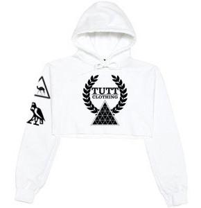 TUTTS WHITE CROP HOODIE | sweatshirts | Toronto, Ontario, Canada