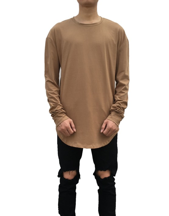 Curved Long Sleeve Tee brown | Long Sleeves Tshirt | Toronto, Ontario, Canada