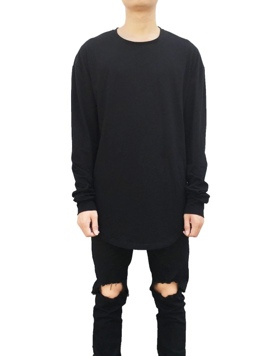Curved Long Sleeve Tee black | Long Sleeves Tshirt black | Toronto, Ontario, Canada