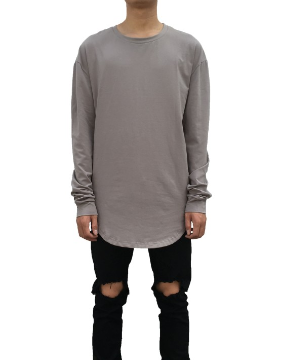 Curved Long Sleeve Tee grey| Long Sleeves Tshirt grey| Toronto, Ontario, Canada