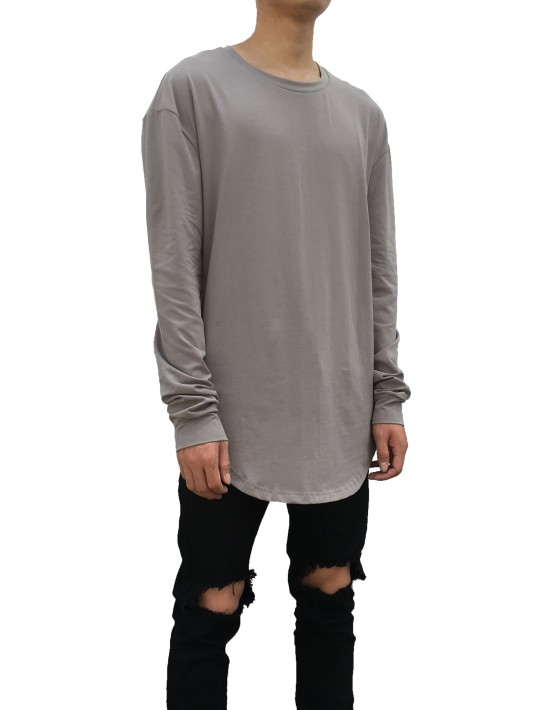 Curved Long Sleeve Tee Grey | Long Sleeves Tshirt | Toronto, Ontario, Canada