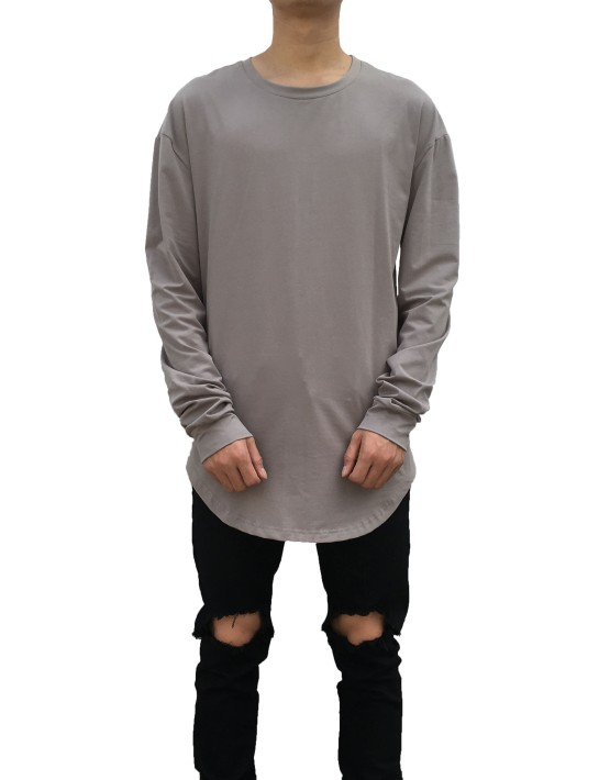 Curved Long Sleeve Tee Grey| Long Sleeves Tshirt Grey | Toronto, Ontario, Canada