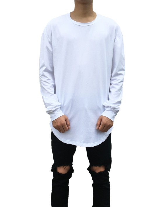 Curved Long Sleeve Tee white | Long Sleeves Tshirt white| Toronto, Ontario, Canada