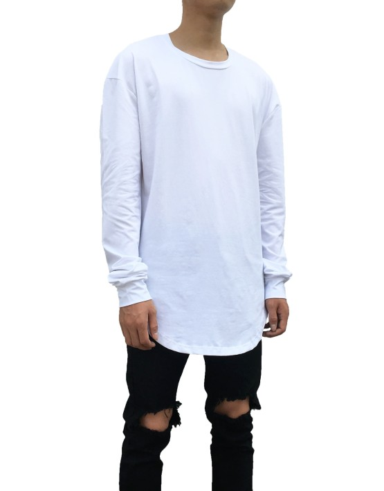 Curved Long Sleeve Tee white | Long Sleeves white | Toronto, Ontario, Canada