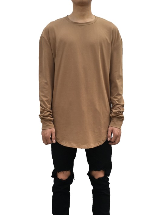 Curved Long Sleeve Tee brown| Long Sleeves Tshirt brown| Toronto, Ontario, Canada