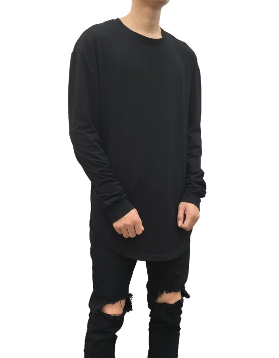 Curved Long Sleeve Tee black | Long Sleeves Tshirt black| Toronto, Ontario, Canada