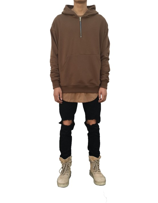 Half Zip Hoodie Brown | Sweat shorts Hoodies | Toronto, Ontario, Canada