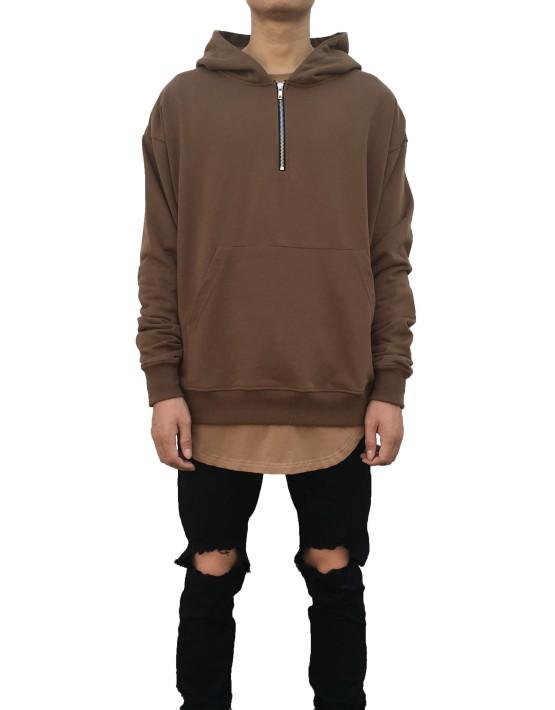 Half Zip Hoodie Brown | Sweat shorts Hoodies | Toronto, Ontario, Canada