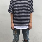 Striped Crew Oversized Tee | short sleeves tshirts | Ontario, Canada