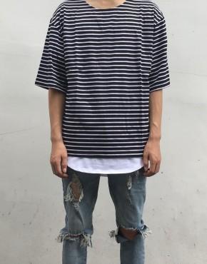 Striped Crew Oversized Tee | short sleeves tshirts | Ontario, Canada